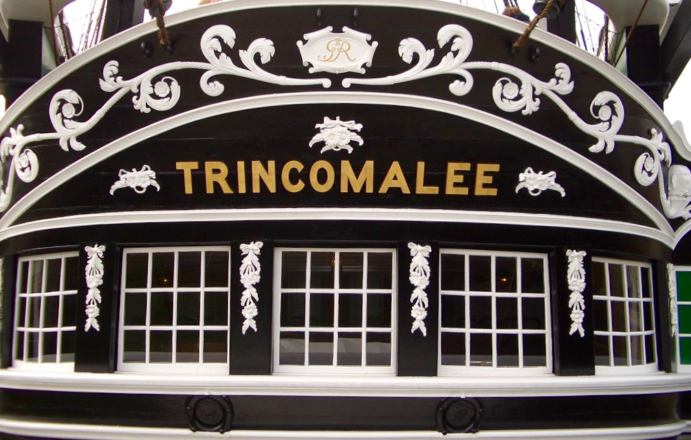Name on the stern of the HMS Trincomalee