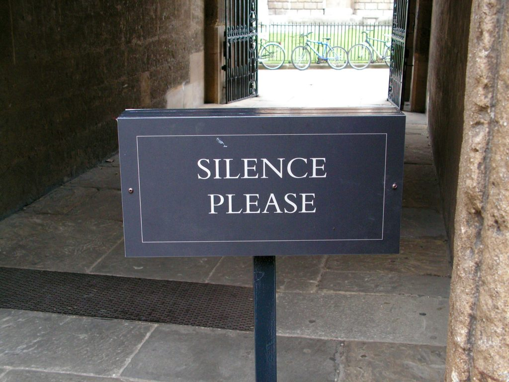 "The ""silence please"" sign at the Bodleian Library in Oxford"